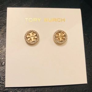 Tory Burch NWOT Gold Crystal Circle Logo Earring
